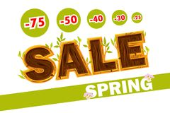 Vector Wooden letters forming the word SALE. Spring sale offer, banner template. On Separate Layers. Wooden letters forming the word SALE. Spring sale offer vector illustration