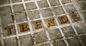 Wooden letters forming the word trends Stock Images