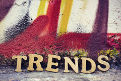 Wooden letters forming the word trends Stock Photo
