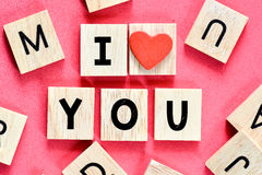 Wooden letters I love you Stock Photography