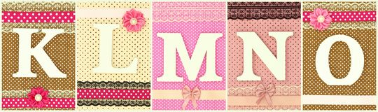 Wooden letters K L M N O. On polka dots background royalty free stock images