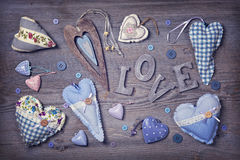 Wooden letters love and hearts Royalty Free Stock Image