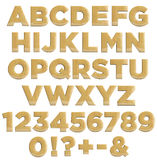 Wooden letters and numbers - wood alphabet Stock Photos
