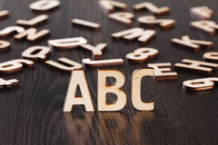 Wooden letters school background concept Stock Photos