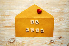 Wooden letters spelling be mine Stock Images