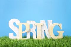 Wooden letters spelling SPRING sitting in green grass. With blue background stock photo