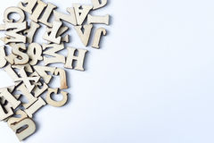 Wooden letters on a white background. Royalty Free Stock Photo
