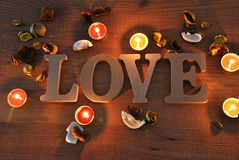 Wooden letters with word love. For valentines Royalty Free Stock Photos