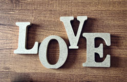 Wooden letters with word love. For valentines Stock Images