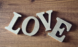 Wooden letters with word love. For valentines Royalty Free Stock Images