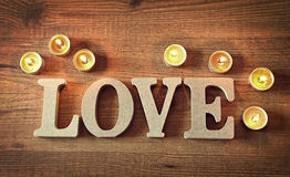 Wooden letters with word love. For valentines Stock Photo
