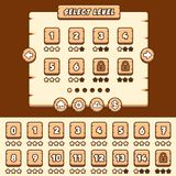 Wooden level selection game asset stock illustration