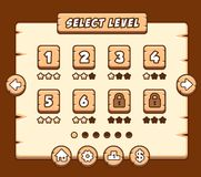 Wooden level selection panel for game Stock Photo