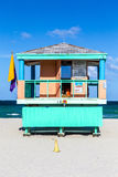 Wooden life guard huts in art deco style in miami Royalty Free Stock Image