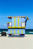 Wooden life guard huts in art deco style in miami Stock Image