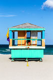 Wooden life guard huts in art deco style in miami Royalty Free Stock Photo