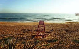 Wooden Lifeguard Chair at the Beach Stock Photography
