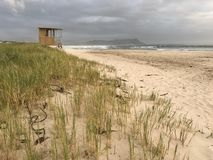 Wooden lifeguard station on a private beach royalty free stock photos