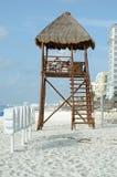 Lifeguard station at beach. Wooden Lifeguard station at sandy beach royalty free stock photography