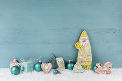 Free Wooden Light Blue Christmas Background In Shabby Chic Style. Stock Photos - 43341793