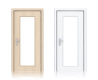 Wooden light and white painted doors with windows. Stock Photo