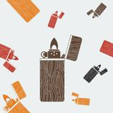 Wooden Lighter Seamless Pattern Stock Image
