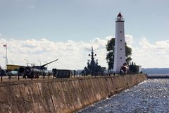 Wooden lighthouse in Kronshtadt. Old wooden lighthouse in Kronshtadt, Saint-Petersburg at afternoon royalty free stock photo