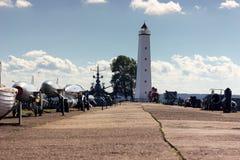 Wooden lighthouse in Kronshtadt. Saint-Petersburg, Russia - 08.22.2017 Old wooden lighthouse in Kronshtadt at afternoon Stock Images