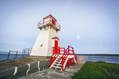 Wooden lighthouse next to Fort Amherst, Newfoundland, Canada. Wooden lighthouse in white and red next to Fort Amherst, Newfoundland, Canada stock photography