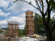 Wooden lighthouse under construction Royalty Free Stock Images