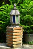 The Wooden Lighting Lamp in the garden stock photos