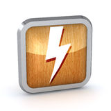 Wooden lightning icon Royalty Free Stock Images