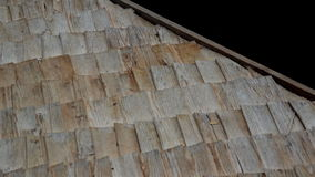 Wooden linings on Thatched Roof and A really close-up footage of the view of the old cabin cedar wooden shingle shake roof stock video