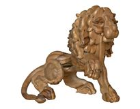 Wooden lion. Isolated wooden lion royalty free stock photography