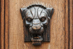 Wooden lion head relief - decorative element Stock Photo
