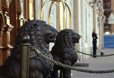 Wooden lion sculptures Stock Photography