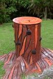 Wooden Litter Bin. In garden Royalty Free Stock Photo