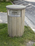 The wooden litter bin Royalty Free Stock Images