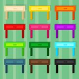 Wooden little table for room in 12 different colors stock photography