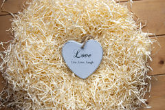 Wooden Live, love and laugh heart Stock Images