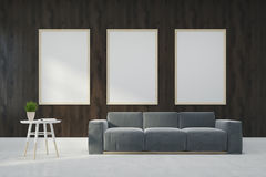 Wooden living room, gray sofa, posters Stock Photography