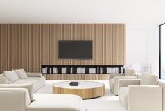 Wooden living room interior, beige sofa Stock Photography