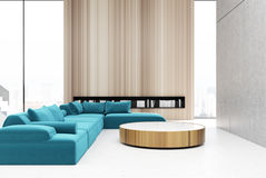 Wooden living room interior, blue vector illustration