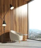 Wooden living room, white armchair Stock Images