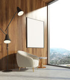 Wooden living room, white armchair, poster Stock Photography