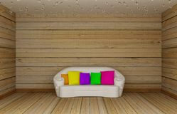 Wooden living room with white couch Stock Image