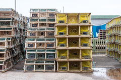 Wooden Lobster Trap on Wharf Stock Images