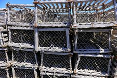 Wooden lobster traps Stock Photo