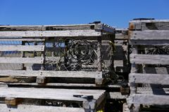 Wooden lobster traps Royalty Free Stock Photos