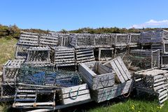 Wooden lobster traps Stock Images